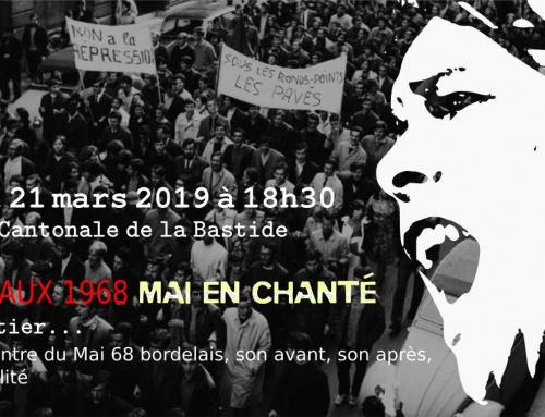 Jeudi 21 mars 18h30 soirée «Mai 68 en chanté»