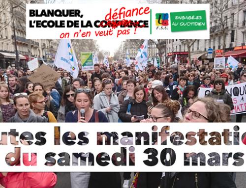 ECOLE EN DANGER, enseignants et parents dans la rue le 30 mars