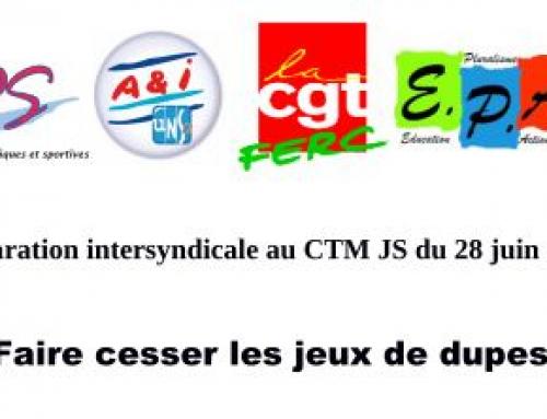 28 juin CTM jeunesse et sport : réforme en tromperie éhontée !