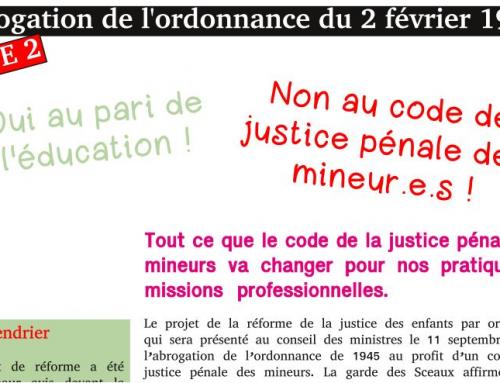 pour le SNPESpjj-FSU, le code de la justice pénale des mineur.e.s en répression au lieu d'éducation !