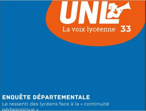 Pour l'UNL33, anxiogène et peu pédagogique, le confinement n'a pas réussit. La rentrée de septembre doit être prise au sérieux par le Ministère