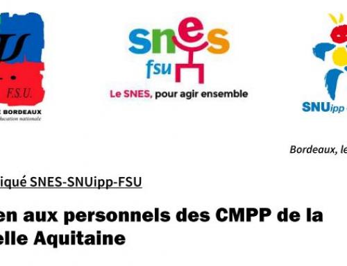 16 juin manif/ PETITION – Communiqué SNES-SNUipp-FSU  Soutien aux personnels des CMPP de la  Nouvelle Aquitaine