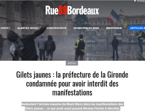 Gilets jaunes : la préfecture de la Gironde condamnée pour avoir interdit des manifestations