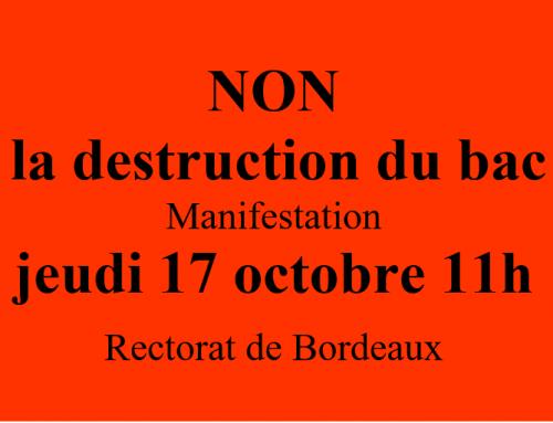 17 juin NON à la destruction du bac