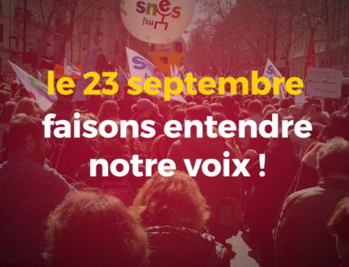 23 septembre mobilisé.es dans l'Éducation Nationale