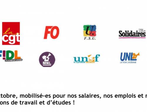 Le 5 octobre, mobilisé-es pour nos salaires, nos emplois et nos  conditions de travail et d'études !